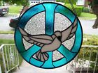 Stained Glass Peace Sign with a Dove of Peace Sun catcher Real Glass