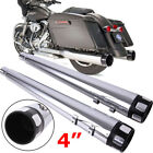 4 Chrome Slip On Mufflers for Harley Touring Road King Glide Exhaust Pipe 95 16