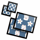 2 Glass placemates  2 Glass coaster Cute Lucky Cat  Flower Chinese China