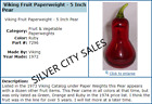 Viking Art Glass 1972 Epic Ruby Red Pear Paperweight 7296 Thin Green Stem