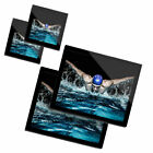 2x Glass Placemates  Coasters Swimming Pool Butterfly Stroke Swimmer 46344