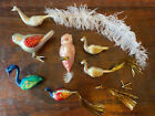 Lot of 7 Vintage Glass Christmas Ornaments Birds Clips Peacock Swan Owl Finch