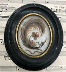 Antique French Mourning Hair Art Domed Glass Wooden Frame Pansy Feather c1880