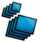 4x Glass Placemates  Coasters Blue Stained Wooden Planks 3690