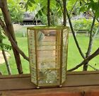 SMALL VINTAGE GLASS BRASS CURIO CASE MIRROR ON BACK 3 SHELVES ETCHED ROSE DESIGN