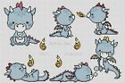Birth Sampler Baby Dragons in Blue Counted Cross Stitch COMPLETE KIT 5 115B