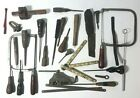 Vintage Old Tool Lot Saw Screwdrivers Ruler Awl Glass Cutter Chisel Etc