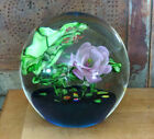 HUGE Detailed Blown Glass Lily pad Flower  GREEN FROGS Paperweight 7 1 2 tall