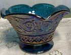 NOS Indiana Iridescent Blue Carnival Glass Footed Candy Nut Bowl Unknown Patt