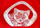 Mats Jonasson Clear Lead Crystal Engraved Sleeping Cat Paperweight Signed