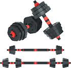 Adjustable Dumbbell Barbell, 20kg Free Weights Fitness Barbell set, Detachable 3