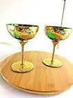 2 Murano Wine Glasses Emerald Green Hand Painted 24k Gold And Enamel Flowers
