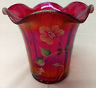 Fenton RED IRIDESCENT Stretch Art Glass 100th Painted Signed Flip FOUNDERS VASE