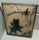 Scottie Scotty Dog Leaping To Bird Glass Silhouette Gold Colored Frame