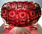 CAESAR CRYSTAL Red Footed Bowl Hand Cut to Clear Overlay Czech Cased NIB