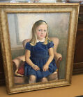 Mid 20th Century Large Oil Painting Portrait Of A Young Girl By MRotinoff 1965