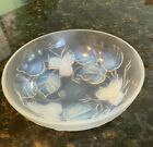 SIRVES Etling France Art Deco Flower Opalescent Footed Glass Bowl 1930s 151