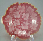 Bohemian Moser Type Granulate Etched Grape Vine Cranberry  Gold Glass Leaf Dish