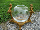 STUNNING ART DECO ANTIQUE FISH BOWL STAND W BOWL ORNATE TABLETOP CAST IRON