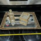 VINTAGE GLASS MIRROR VANITY TRAY with perfume bottle and trinket dish