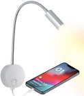 Bedside Reading Wall Light With Usb Charging Port Led Wall Mounted Lamp