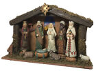 JC Penny Home Collection Rustic Porcelain Nativity Set 10 Pieces Star Lights Up
