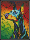 Colorful Doberman Dog Counted Cross Stitch COMPLETE KIT No16 162