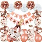 Rose Gold Party Decorations Happy Birthday Confetti Balloons