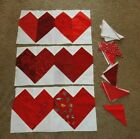 6 RED HEART QUILT BLOCKS NICELY PIECED PLUS PARTIAL KIT PIECES