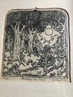 Vintage William F Cox copperplate Etching Entering The Forest Signed Numbered