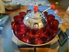 Chrome Plated Retro Punch Bowl Set With Ruby Glass Cups