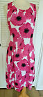 NINE WEST Pink Black White Fit  Flare Hibiscus Floral Summer Dress 14 NWT
