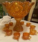 IMPERIAL CARNIVAL GLASS IRIDESCENT MARIGOLD PUNCHBOWL SET