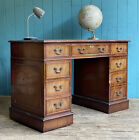 Vintage Style Green Leather Top Twin Pedestal Writing Desk Home Office DELIVERY*