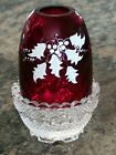 RARE Fenton Fairy Lamp Ruby Red Optic HP Holly Signed Louise Piper EXCELLENT