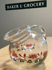 Vintage tilted ball shaped Heavy glass pitcher handle and ice lip Floral Design