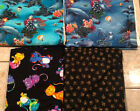 Cats Dogs and Sea Ocean Life Lot of 4 Fun Quilting Fabrics total 8 yd
