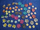 ON SALE 60pc set Sequin Iron on Rose Flower patches Embroidered Flower patch