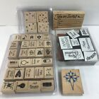 Stampin Up Lot of 55 Stamp Sets Wood Blocks Rubber Stamps most are NEW