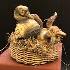 Basket Ducks Gift Animal For Nativity Patio Scene the Country 2 13 16x3 1 8in