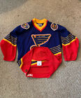 Vtg 90's Authentic Center Ice St. Louis Blues Blank Blue Jersey 44 FIGHT STRAP