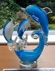 LARGE BLUE GLASS FAMILY OF 3 DOLPHINS IN VERY GOOD CONDITION