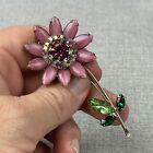 Weiss Signed Long Stemmed Flower Brooch Pin Pink And Green