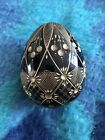 Faberge Modern Egg Black With Gold Flower And Leaf Design Style From Russia