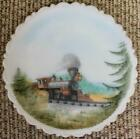 1980s Fenton Hand Painted Central Pacific Jupiter Satin Plate 298 5000 Train