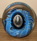Glass Paperweight Signed by Robert Eickholt 1992 WSCO Blue w Controlled Bubble