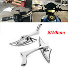Motorcycle Blade Side Mirrors 8mm 10mm Chrome For Vespa Scooter Moped 50cc 150cc