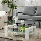 Highlight White Glass Coffee Table End Side Table Living Room Furniture w Shelf