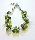 Vintage Green Flowers Clear Leaves Lampwork Art Glass Bead Necklace AU21BN37