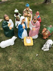 Vintage Blow Mold Nativity Christmas Set All Lighted 10 Pieces Wise Men Mary